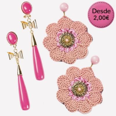 Pendientes Color Rosa y Fucsia