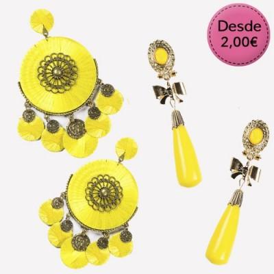 Pendientes Flamencos Color Amarillo y Dorado