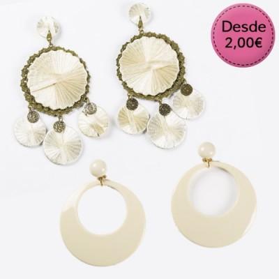White and beige Flamenco earrings
