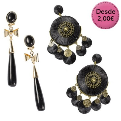 Pendientes Flamencos Color Negro y Gris