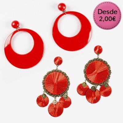 Pendientes Rojos para Flamencas y Sevillanas