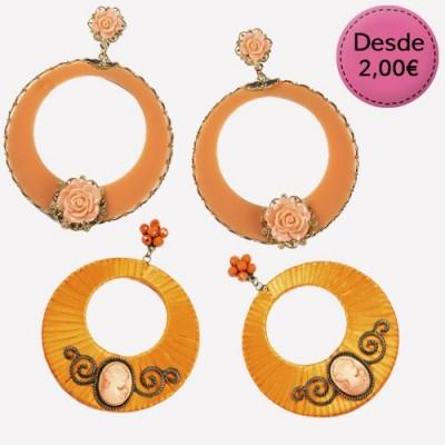 Spanish dance Flamenco orange earrings