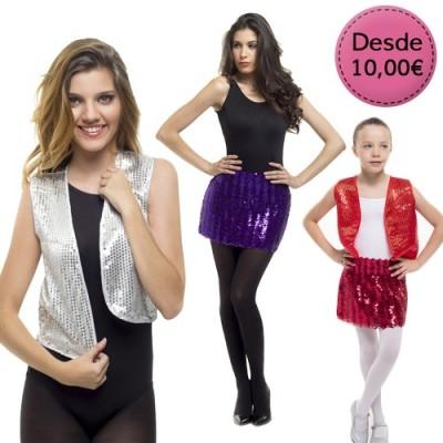 Minifaldas, Shorts y Chalecos de Lentejuelas para Carnaval