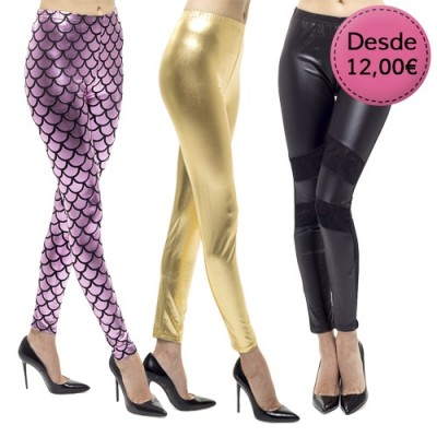 Leggings Brillantes y de Polipiel