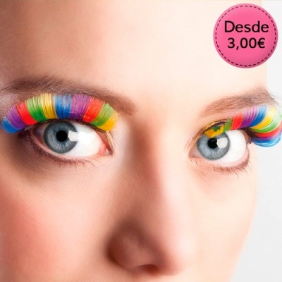 Pestañas postizas de colores para Orgullo Gay