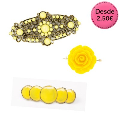 Broches Flamencos Color Amarillo