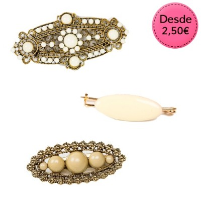 Broches Flamencos Color Blanco y Beige