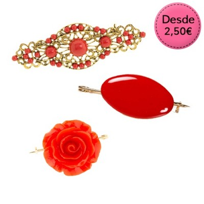 Broches Flamencos Color Rojo