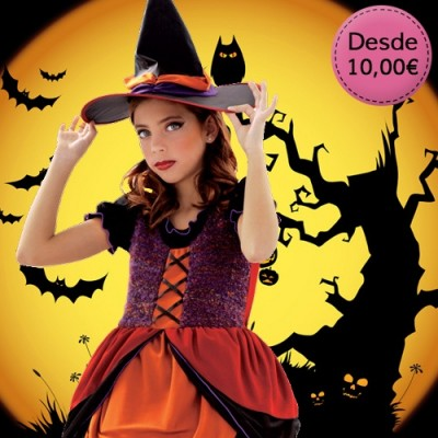 Witch and pumpkin costumes for girls
