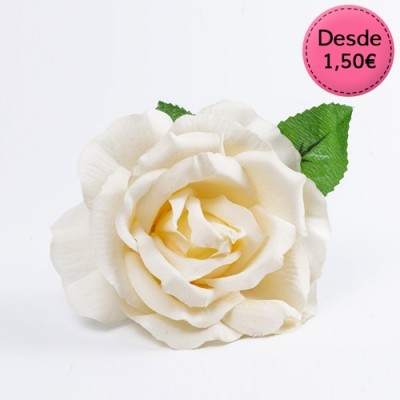 Spanish Flamenco white & beige hair flowers