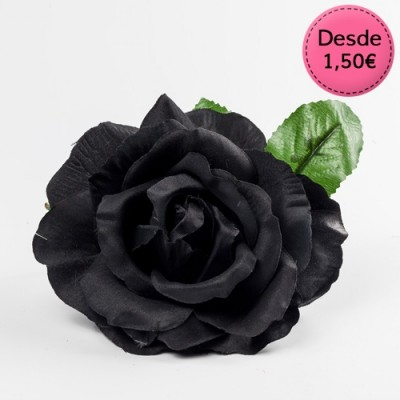 Spanish Flamenco black & grey hair flowers
