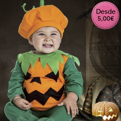 Little devil, vampire, witch and pumpkin costumes for babies
