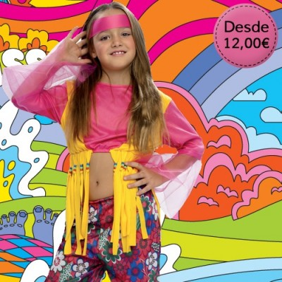 Hippie and rocker costumes for girls