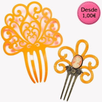 Orange Spanish Flamenco Hair Combs