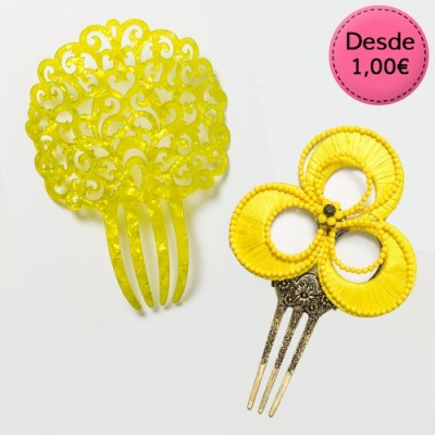 Yellow Spanish Flamenco Hair Combs