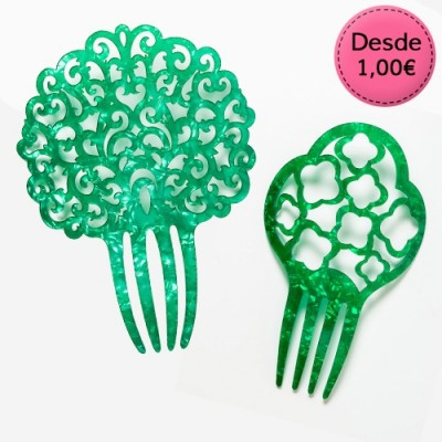 Green Spanish Flamenco Hair Combs