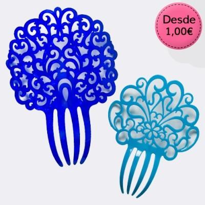 Peinetas Color Azul y Turquesa