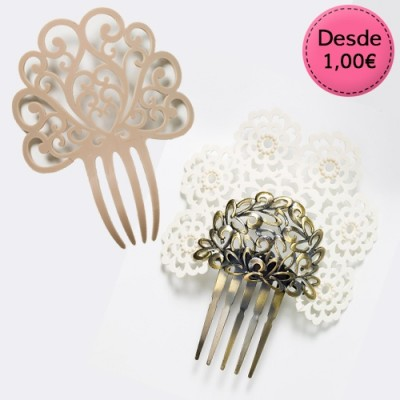 Beige and White Flamenco Hair Combs