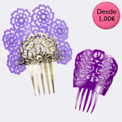 Lilac and Purple Flamenco Hair Combs